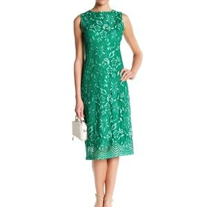 Sharagano Green Lace Tank Dress